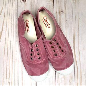 NWOT Cienta 'Distressed Pink' Laceless Sneakers